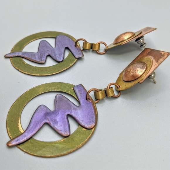 VTG 90s Abstract Metal Dangle Earrings